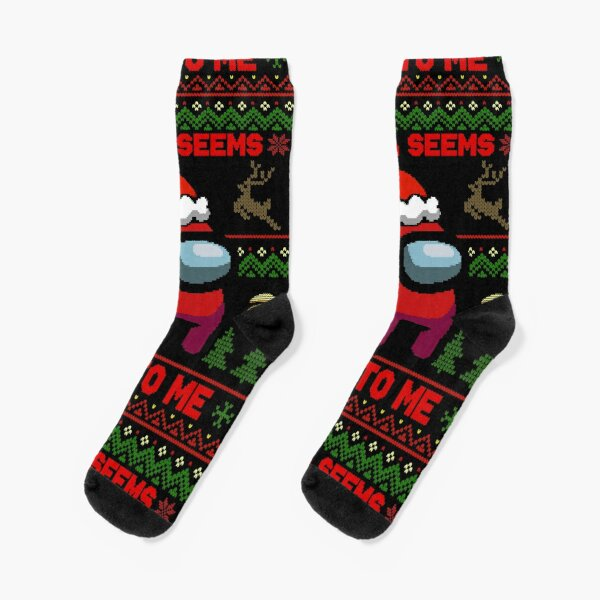 Santa Seems Sus To Me - Among Us Ugly Sweater Socks