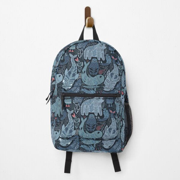 Arctic animals. Narwhal, polar bear, whale, puffin, owl, fox, bunny, seal. Backpack