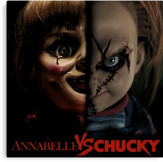 annabelle vs chucky canvas prints by meksologin redbubble