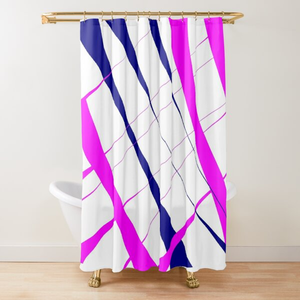 Blue and pink stripes in the wind Shower Curtain