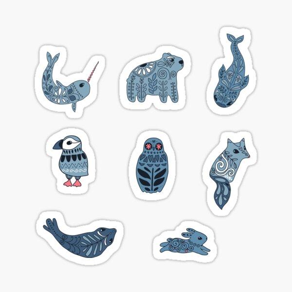 Arctic animals. Narwhal, polar bear, whale, puffin, owl, fox, bunny, seal. Sticker