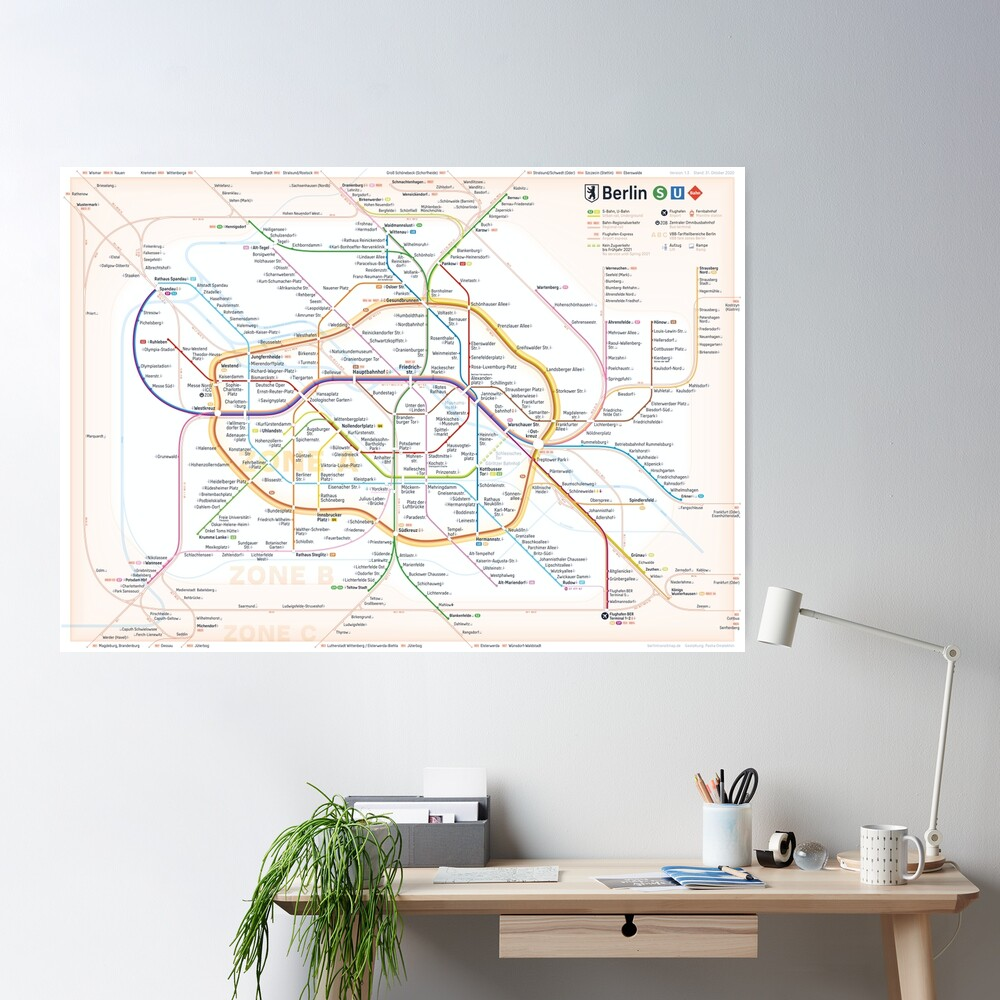 New Berlin rapid transit route map (October 31, 2020) Poster