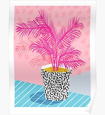 No Can Do - potted plant art indoor desert graphic imagery throwback 1980s style memphis neon  Poster