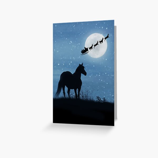Holiday Christmas Horse and Santa Greeting Card