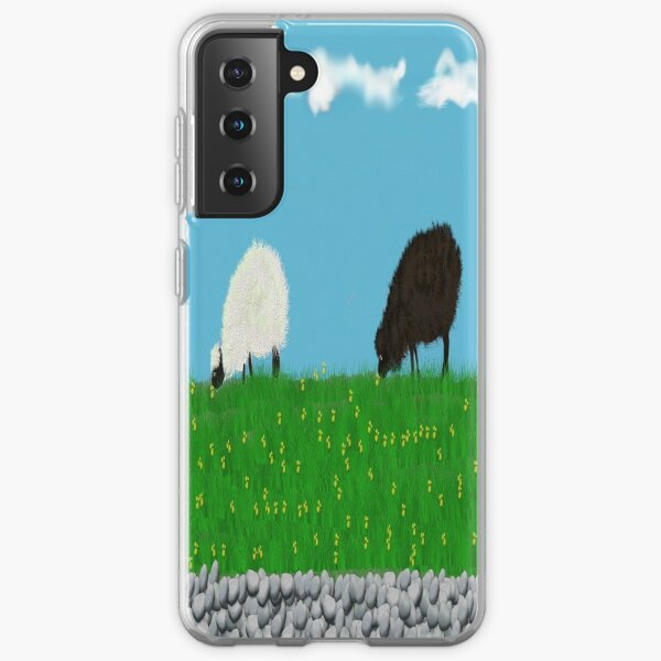 One black one white sheep grazing in the meadow  Samsung Galaxy Soft Case