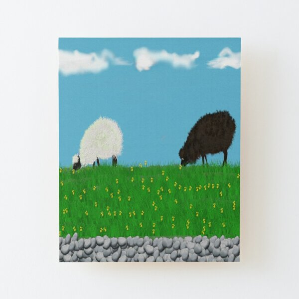 One black one white sheep grazing in the meadow  Wood Mounted Print