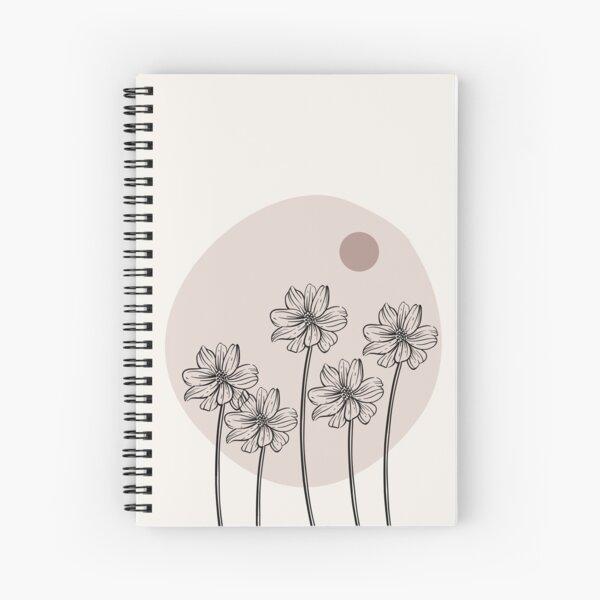 Minimalist Simple Abstract Pstel Pink Flower Garden  Design Spiral Notebook