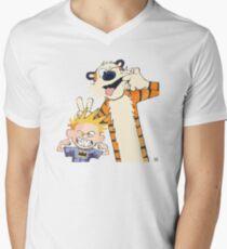 Calvin und Hobbys T-Shirt mit V-Ausschnitt für Männer