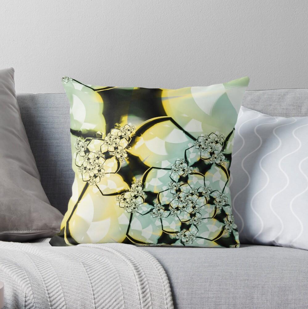 Yellow Green Flower Art Throw Pillow