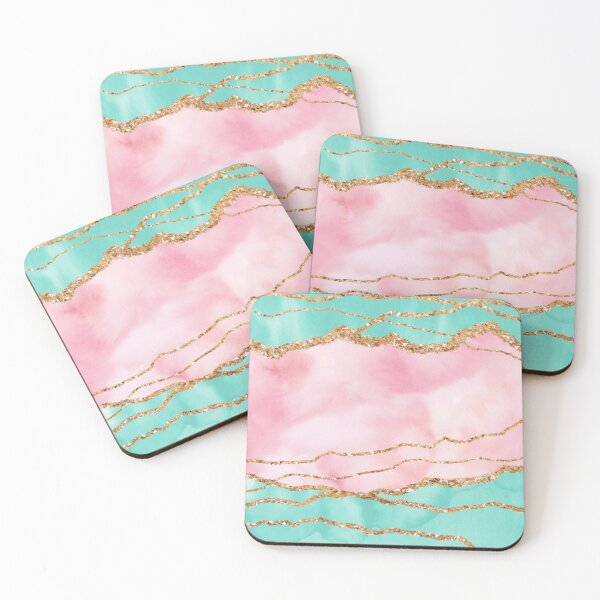 Girly Trend Pink And Ocean Green Marble Landscape Coasters (Set of 4)