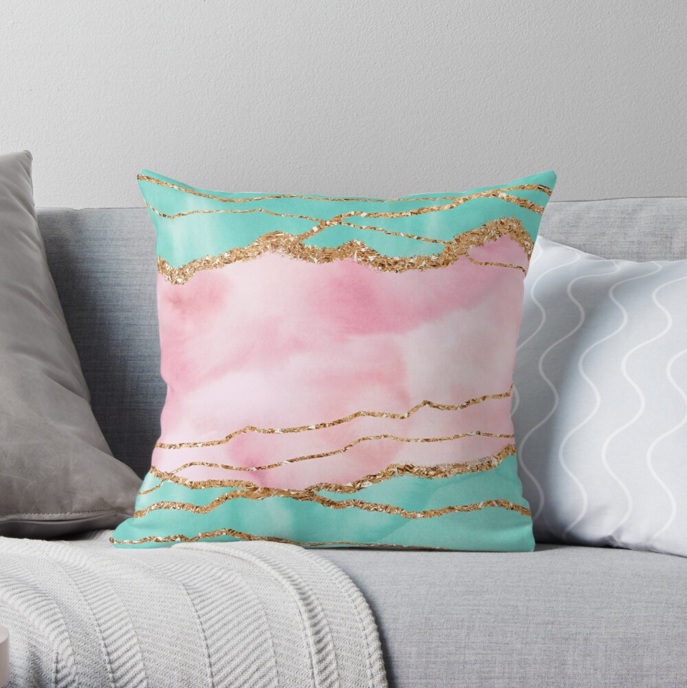 Girly Trend Pink And Ocean Green Marble Landscape Throw Pillow