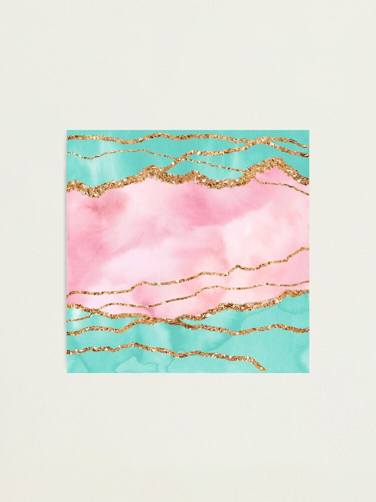Alternate view of Girly Trend Pink And Ocean Green Marble Landscape Photographic Print