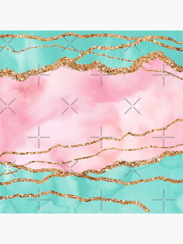 Girly Trend Pink And Ocean Green Marble Landscape by MysticMarble