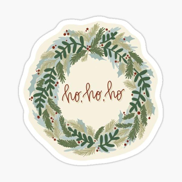 """Xmas Wreath - """"Ho Ho Ho"""" Glossy Sticker"""