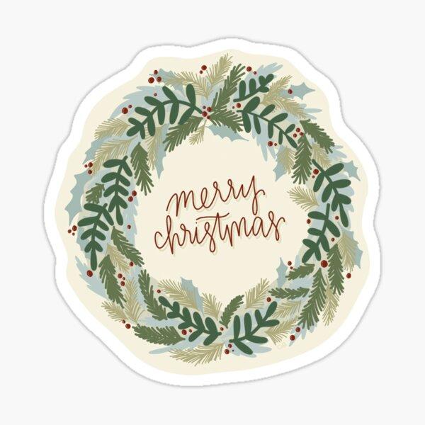 "Xmas Wreath - ""Merry Christmas"" Glossy Sticker"