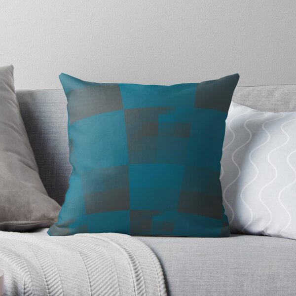 Squares Abstract Pattern Blue Throw Pillow