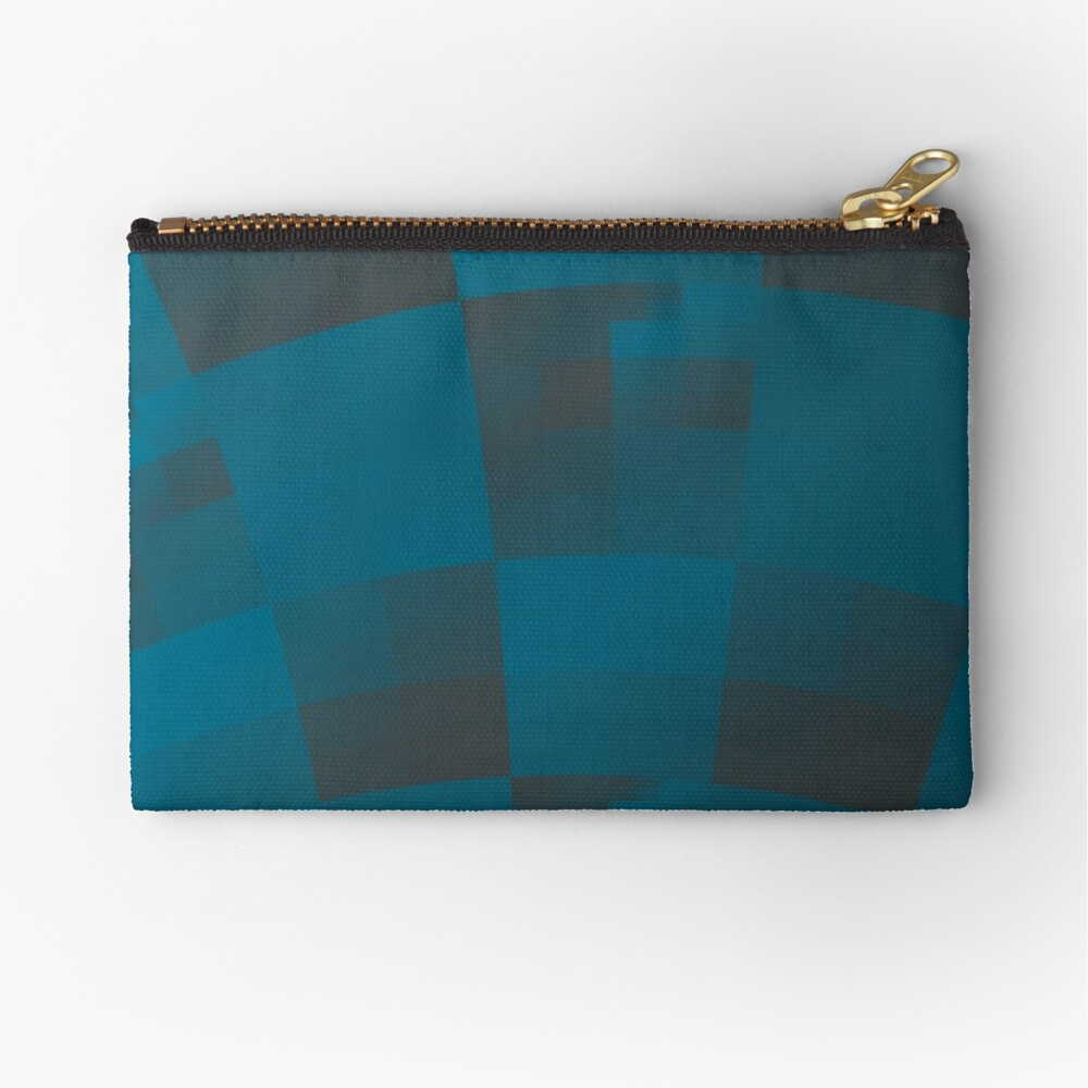 Squares Abstract Pattern Blue Zipper Pouch