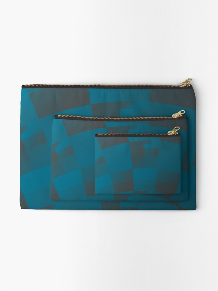 Alternate view of Squares Abstract Pattern Blue Zipper Pouch