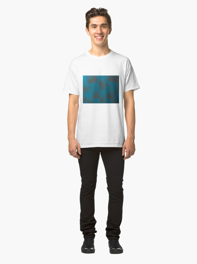 Alternate view of Squares Abstract Pattern Blue Classic T-Shirt