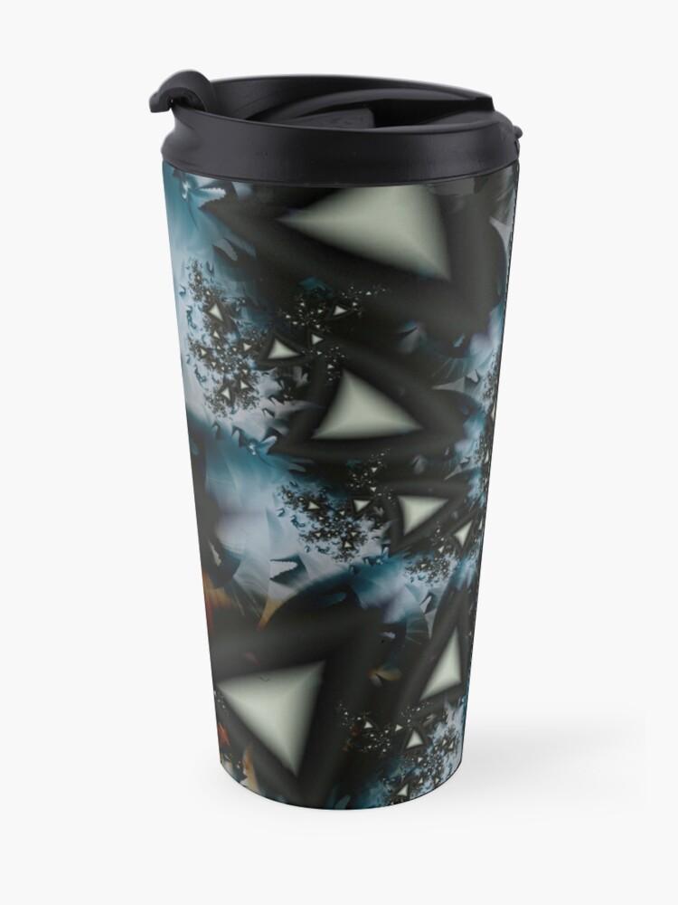 Alternate view of Blue White Triangle Spiral Travel Mug