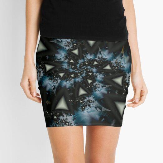 Blue White Triangle Spiral Mini Skirt