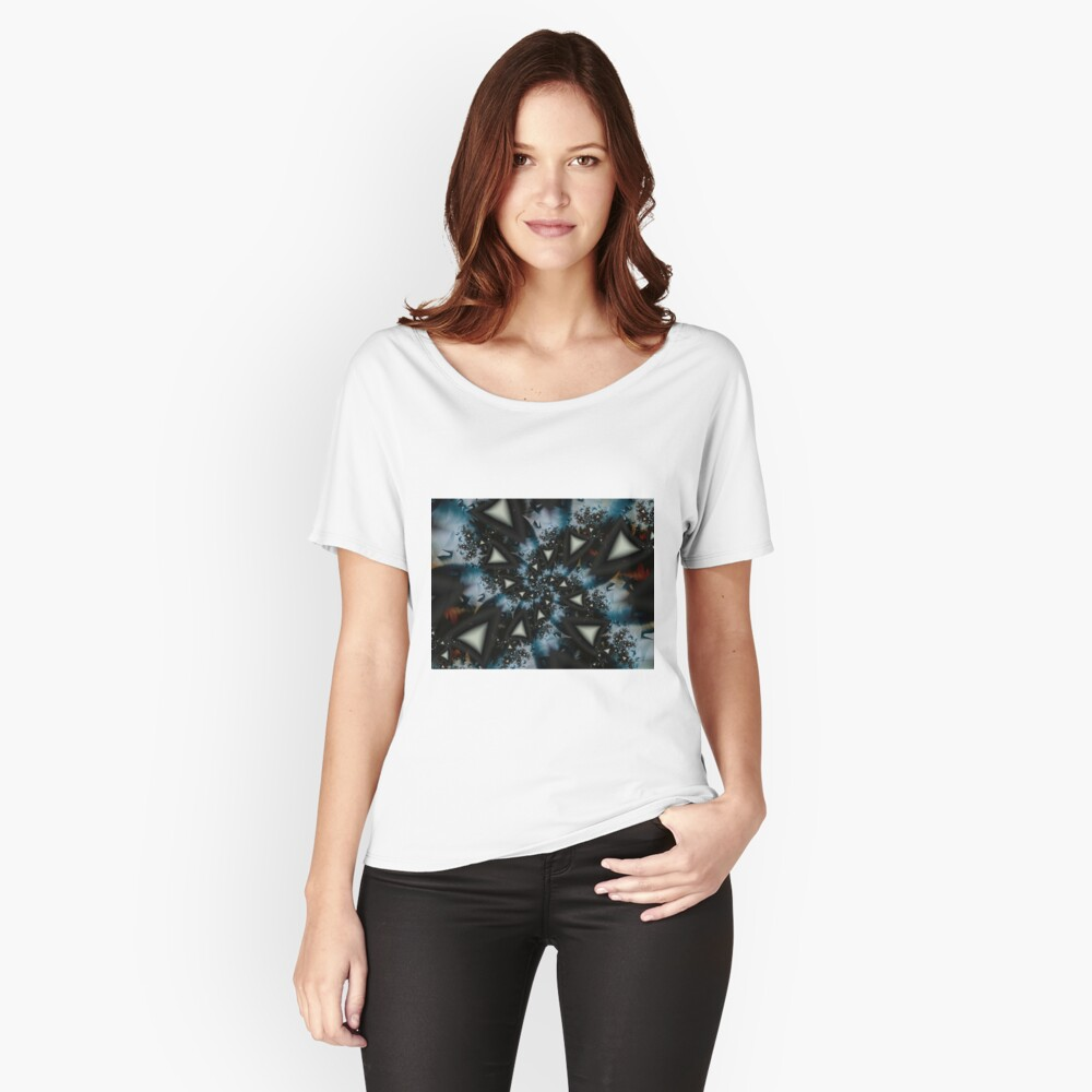 Blue White Triangle Spiral Relaxed Fit T-Shirt