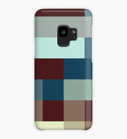 Checkered Pattern Design Brown Blue Tan Case/Skin for Samsung Galaxy