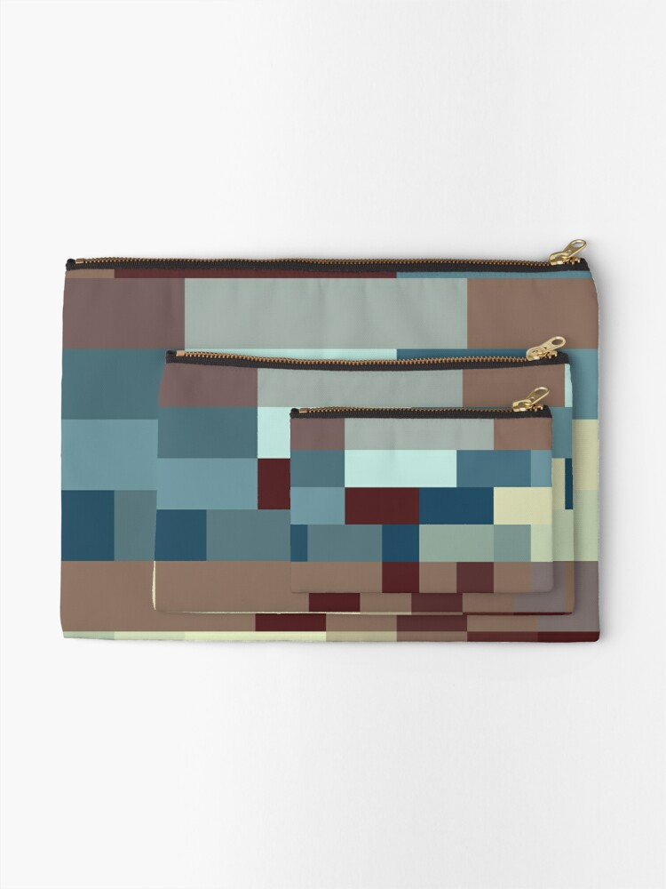Alternate view of Checkered Pattern Design Brown Blue Tan Zipper Pouch