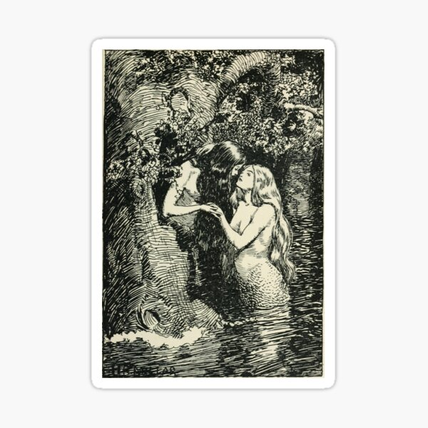 """""""The Nymph Caught The Dryad In Her Arms"""" By H.R. Millar (1904) Sapphic Vintage Print Sticker"""