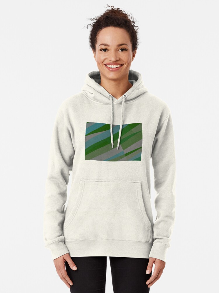 Alternate view of Leopard Zebra Pattern Green Blue Gray Pullover Hoodie