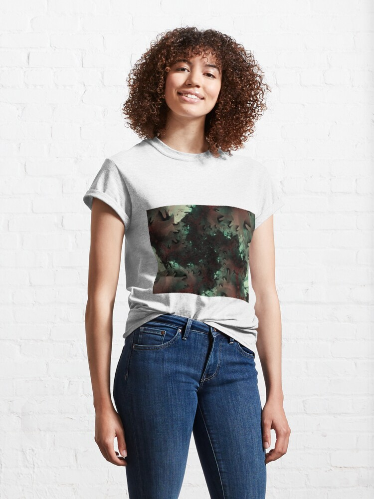 Alternate view of Red Green Snowflake Abstract Design Classic T-Shirt