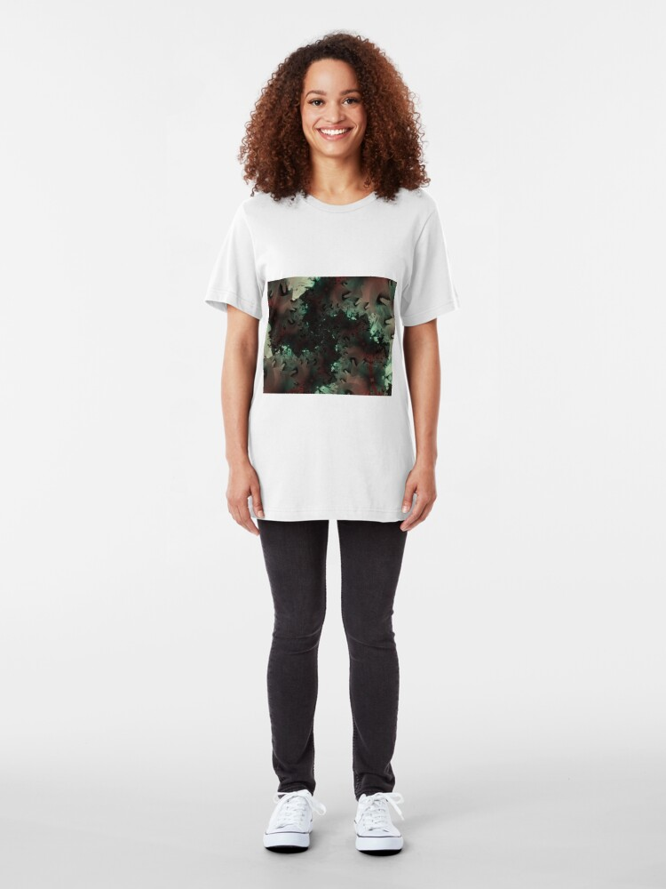 Alternate view of Red Green Snowflake Abstract Design Slim Fit T-Shirt