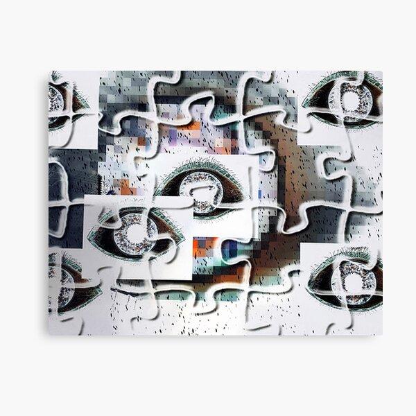 Puzzles eyes pixels Canvas Print