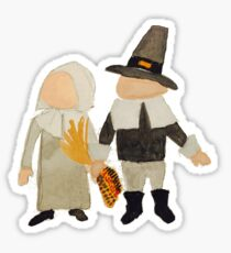 Thanksgiving Pilgrim Toddler Girl and Boy Couple Sticker