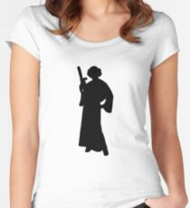 Star Wars Princess Leia Black Women's Fitted Scoop T-Shirt