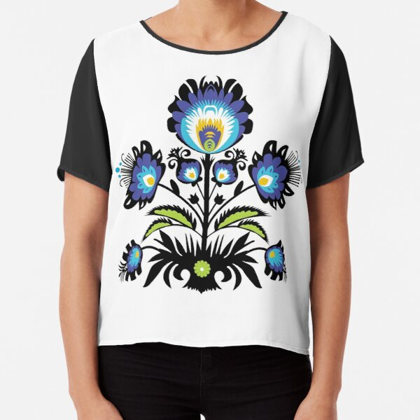 Simple  Folk flower composition with black Chiffon Top
