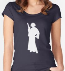 Star Wars Princess Leia White Women's Fitted Scoop T-Shirt
