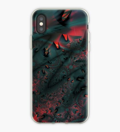 Red Abstract Lined iPhone Case