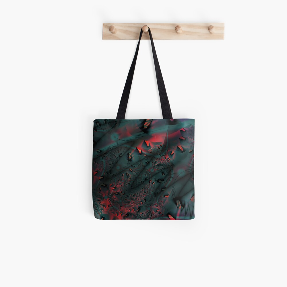 Red Abstract Lined Tote Bag