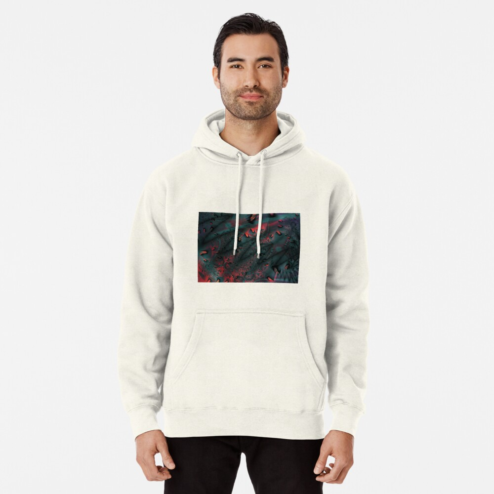 Red Abstract Lined Pullover Hoodie