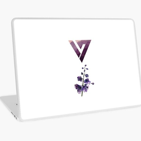 Purple Floral Watercolor Seventeen Logo Design (kpop) Laptop Skin