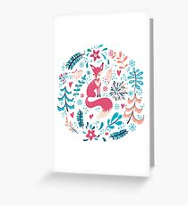 Fox with winter flowers and snowflakes Greeting Card