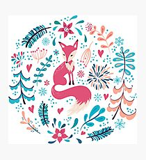 Fox with winter flowers and snowflakes Photographic Print
