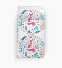 Fox with winter flowers and snowflakes Duvet Cover
