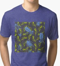 Dragonfly and Beetles ink doodle. Blue indigo insects with green branches. Tri-blend T-Shirt