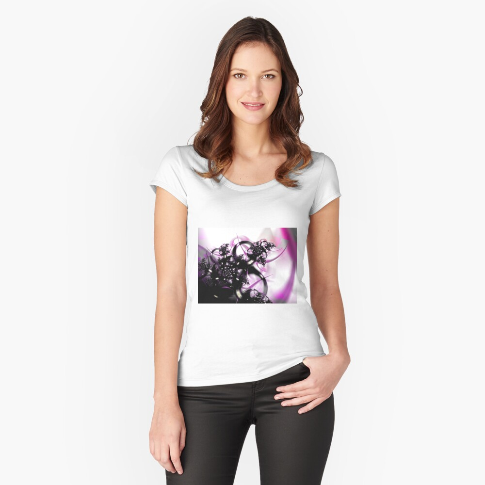 Purple Abstract Fitted Scoop T-Shirt