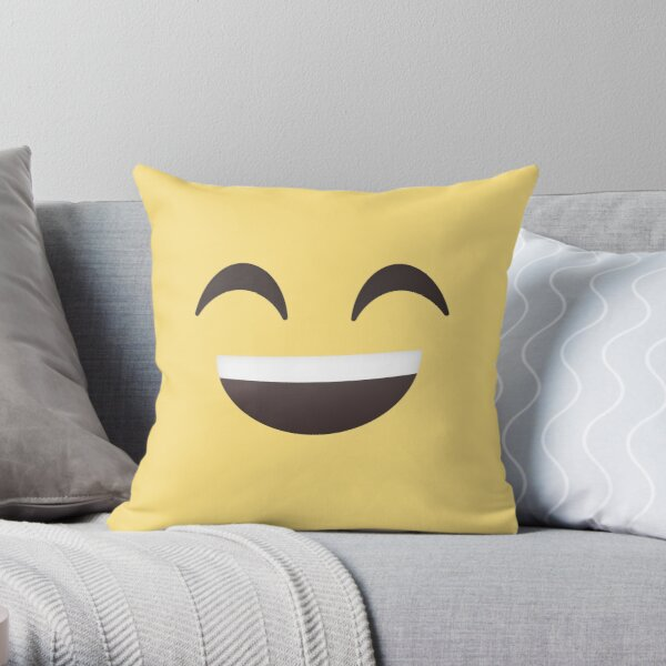 Grinning Little Face with Smiling Eyes Throw Pillow