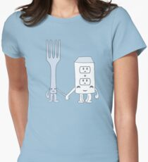 The Cutest Couple: Fork & Electrical Outlet Women's Fitted T-Shirt