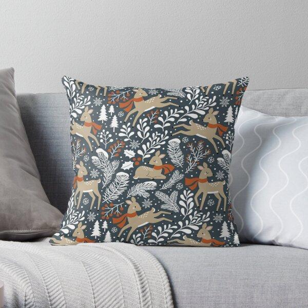 Winter Deer / Dark Grey Throw Pillow