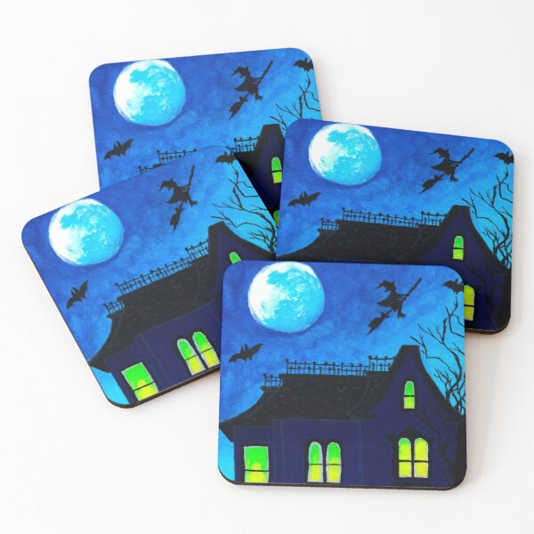Haunted House Print Coasters (Set of 4)